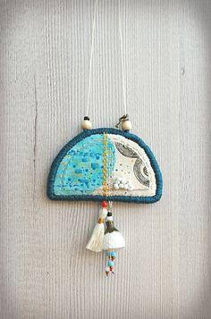 Fabric necklace / two sided textile necklace / by Percee on Etsy