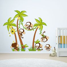 Baby jungle scene -monkey business in Baby Jungle Scene by Vinyl Impression