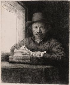 Self Portrait Drawing at a Window by Rembrandt Harmenszoon van Rijn, 1648