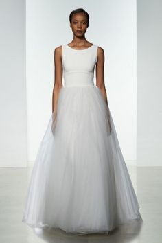 """Libby"" Amsale Spring 2016 - Crepe bodice ball gown with sheer back and soft tulle skirt."