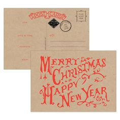 Merry Christmas and Happy New Year Postcard Fill-in Invitations 10 Pack