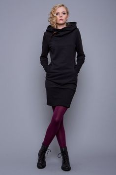 """""""nobilis"""" is a stunning and unique hooded dress with attention to detail. – black sweatshirt fabric cotton, polyester) – round … - All About Sewing Dresses For Women, Sewing Clothes Women, Clothes For Women, Sweat Dress, Diy Mode, Hooded Dress, Stripe Skirt, Fashion Plates, Clothing Patterns"""