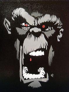 Crazy Monkey Art | Crazy Monkey Stencil by Kelden17