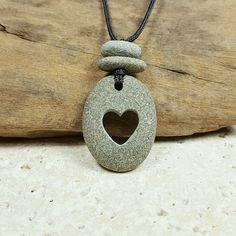 Beach Pebble Heart Necklace carved beach rock heart by RockYouWear
