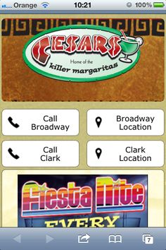"Cesars Killer Margaritas Restaurant Chicago mobile website design. Oh my! Killer margaritas ... yes that certainly brings back memories. I learned that night that there was a reason why they called it ""killer"" margaritas. Great margaritas, not so great on the head, and of course great mobile website design - m.killermargaritas.com"