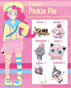 My Little Pokemon Trainer - Pinkie Pie by CaramelCookie on DeviantArt My Little Pony Comic, My Little Pony Drawing, My Little Pony Pictures, Pokemon Oc, Pokemon Funny, Equipe Pokemon, Pokemon Crossover, Little Poni, Disney Crossovers