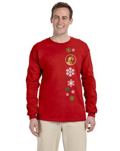 Vizsla Red Snowflakes Long Sleeve Red Unisex Tshirt Adult Large LH9325-LS-RED-L