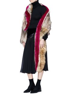 Dries Van Noten   'Ferry' asymmetric faux fur jacket