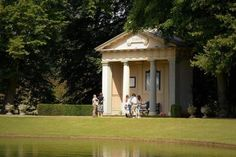 Princess Diana's grave sits on the Althorp Estate in Northhampshire, England. A temple with limited visiting times for the public serves as a shrine to the late princess.