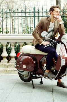 european // #moped #tweed #stripes