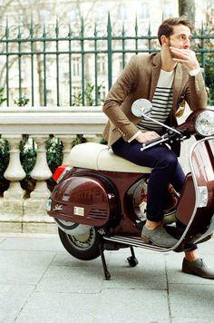 european // #moped #tweed #stripes