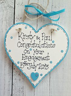 PERSONALISED WOODEN HEART PLAQUE HANDMADE ENGAGEMENT ANNIVERSARY WEDDING GIFT in Home, Furniture & DIY, Home Decor, Plaques & Signs | eBay