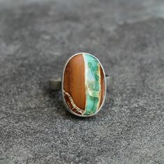 Variscite Silver Ring  Brown and Teal Stone Ring   by lsueszabo