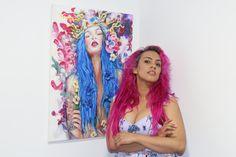 Blue hair. Portrait. Retrato. Blue butterfly