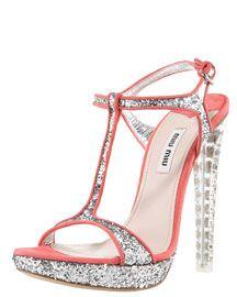 I need these Miu Miu Glitter T-Strap Sandal