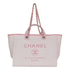 39b4ddeb127f Chanel Pink Canvas Deauville Tote Bag SHW | From a collection of rare  vintage shoulder bags