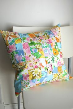 vintage patchwork pillow by LilibethsGarden, via Flickr