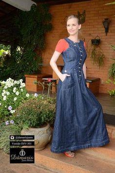 DJV301 - Vestido Jeans - Dâmaris Jeans Deluxe Modest Dresses, Modest Outfits, Modest Fashion, Fashion Dresses, Jeans Dress, I Dress, Moda Jeans, Mode Style, African Dress