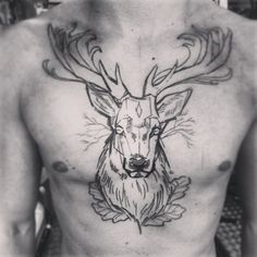 Cool Chest Deer Tattoo for Men