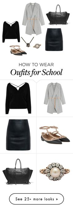 """""""School Day"""" by laurenhansendenatly on Polyvore featuring Vanessa Bruno, McQ by Alexander McQueen, River Island, Valentino and Balenciaga"""