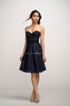 easy navy sweetheart neck a-line lace bridesmaid dress