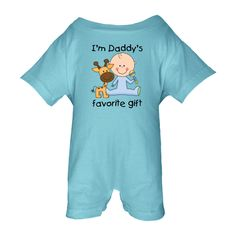 Children truly are gifts and this design on a Baby Romper says it all. I'm daddy's favorite gift! No father's day gift is complete without this cute little boy in his blue outfit with matching rattle and adorable little orange and brown giraffe! It would make a perfect surprise for this father's day! $22.99 www.inktastic.com
