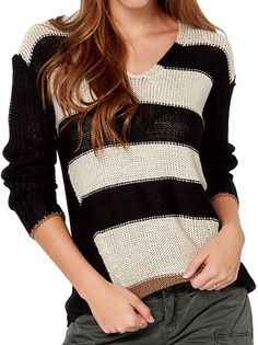 Leisure Women V-Neck Long Sleeve Striped Pullover Sweater  on buytrends.com