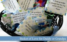 Match quotes about Dad or Grandpa with little gifts - great basket gift for Father's