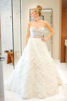 Wedding Dress, Lazaro - Indianapolis Wedding http://caratsandcake.com/jennaandbilly