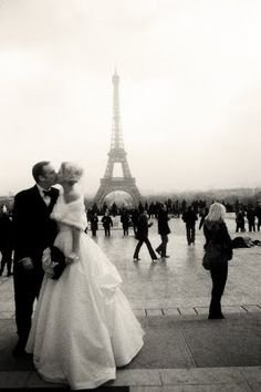 vintage wedding in paris, tour eiffel!  fur wrap, bow tie for the groom vintage style ball gown
