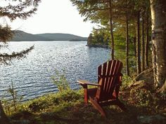 great view for cabin on the lake. just missing another chair. Lake Cabins, Cabins And Cottages, Small Cabins, Peaceful Places, Beautiful Places, Lake George Village, Haus Am See, Lakeside Living, Lakeside View