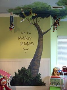 """How cute is this?! Neat playroom mural.  I would use """"Let the wild rumpus start!"""", since Sofi dislikes monkeys."""
