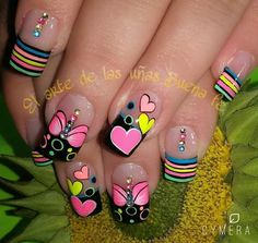 Pretty Colorful Pastel Nails With Stripes, Butterflies, Hearts,& Crystal Accents! Cheetah Nail Art, Cruise Nails, Short Nail Manicure, Exotic Nails, Valentine Nail Art, Nails For Kids, Nails Only, Heart Nails, Pretty Nail Art