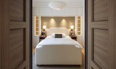 Custom made interior design. Bed upholstery custom made by Werner Scheuber AG.