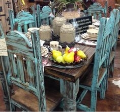 Beautiful dining room table and chairs.