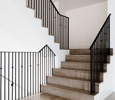 White Oak Staircase Flooring with matte clear, water-based stain. The stain is a matte, clear water-based stain with some white added. Coats Homes Entry Stairs, Staircase Railings, House Stairs, Staircase Design, Stairways, Redo Stairs, Bannister, Basement Stairs, Facade House