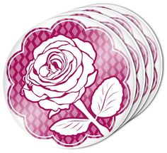 """Amazon.com: Custom & Cool {4"""" Inches} Set Pack of 4 Round Circle """"Flat & Smooth Texture"""" Drink Cup Coasters Made of Acrylic w/ Elegant Magenta Rose Cottage Art Design [Colorful Purple & White]: Home & Kitchen"""
