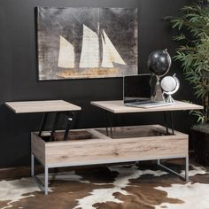 The lift-top storage coffee table provides a unique way to store your belongings. It has two solid mid-sections that open and lift to use as a computer or writing desk. Allowing for seating with easy access to the hidden storage space below.