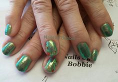 Shellac with glitter and nail art