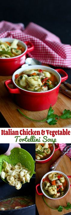 Italian Chicken & Vegetable Tortellini Soup Recipe…Comfort in a bowl! 255 calories and 6 Weight Watchers PP | cookincanuck.com #healthy