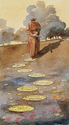 Eight of Coins (Artist/Deck Unknown) tarot cards