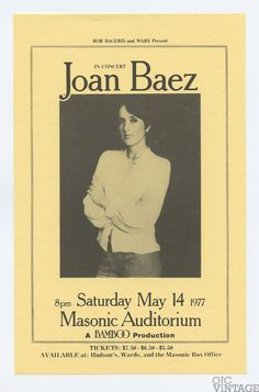 Joan Baez 1977 May 14 Masonic Auditorium San Francisco Handbill Rare