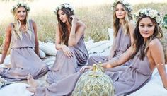 38 Beautiful Spring Bridesmaids' Dresses: boho-inspired lavender mix and match bridesmaids' dresses