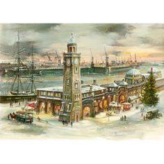 Adventskalender Hamburg Landungsbrücken, Weihnachtskalender schoenes altes Hamburg.