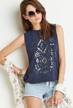 Southwestern Print Muscle Tee - Tops - Graphic Tees - 2000183711 - Forever 21 UK