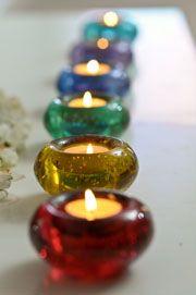 Charm City Yoga's beautiful chakra-colored candles