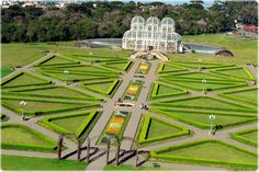 PARANÁ (Southern), Capital Curitiba -   Botanic Garden. Built in 1991, the Botanical Garden of Curitiba has many geometrically arranged gardens that form very beautiful images. Besides the gardens, large greenhouse with three vaults is a symbol of the city.  Photo by Carlos Ruggi.  01