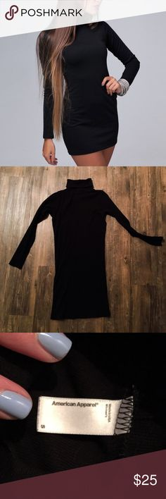 Turtleneck Black Tight Sweater Dress Thick, stretchy and warm fabric. Worn twice. 100% cotton. Length from shoulder to bottom: 34 inches American Apparel Dresses Long Sleeve