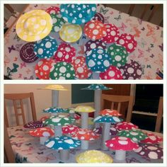 Toadstools made with my daughter for my daughters elves & fairies party, paper bowls, toilet, kitchen and wrapping paper rolls