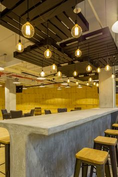 Concrete bar, crate ceiling cloud, industrial Infocomm-04